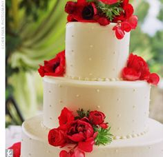 White Cake Accented with Red Anemones and Begonias