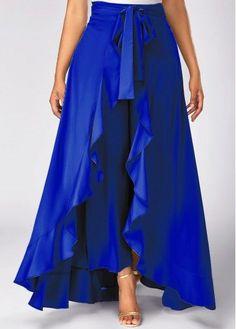 Tie Waist Side Zipper Royal Blue Overlay Pants