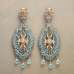 "SCENE STEALER EARRINGS -- Capture compliments and steal the scene in these dramatic danglers by Miguel Ases, hand beaded with Swarovski crystals, Japanese Miyuki beads and blue quartz. 14kt gold-filled posts. USA. Exclusive. 3-1/2""L."