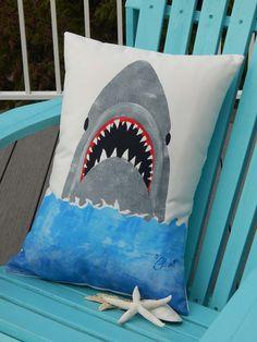 "Outdoor pillow GREAT WHITE SHARK 14""x20"" (35x50cm) coastal beach Jaws Left Shark megaladon predator Crabby Chris Original don't sue me Katy"