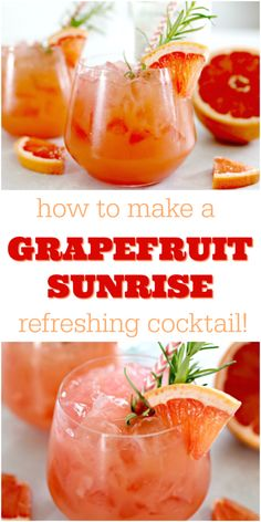 This delicious Grapefruit Sunrise Cocktail is perfect for enjoying on your deck or patio, a great brunch drink, or the perfect cocktail to serve at a wedding or baby shower! via cocktails Grapefruit Sunrise Cocktail - A Refreshing Summer Drink Brunch Drinks, Cocktail Drinks, Fun Drinks, Yummy Drinks, Cocktail Recipes, Alcoholic Drinks, Summer Drink Recipes, Vodka Cocktails, Martinis