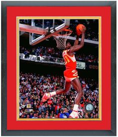 Dominique Wilkins 1986 NBA Slam Dunk Contest Action-11 x 14 Matted/ Framed Photo
