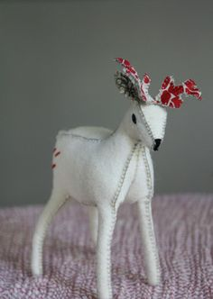 Little Christmas Deer in Wool and Linen by Little Love Blue traditional-holiday-decorations
