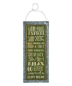 Love this 'Cabin Rules' Wall Sign on #zulily! #zulilyfinds