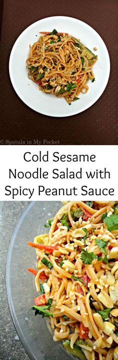 Cold Sesame Noodle Salad with Spicy Peanut Sauce. A simple clean recipe, but big on flavors. Cold Sesame Noodle Salad with Spicy Peanut Sauce. A simple clean recipe, but big on flavors. Cold Lunches, Cold Meals, Soup And Salad, Pasta Salad, Salad Sauce, Simple Clean Meals, Cold Sesame Noodles, Cold Noodles, Cold Sesame Noodle Salad Recipe