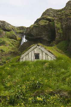 Turf House & Waterfall, Iceland