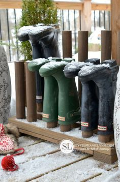 Plans to Build a Wooden Boot Rack via Stephanie Lyn ~ why not use pallet wood and pool noodles?