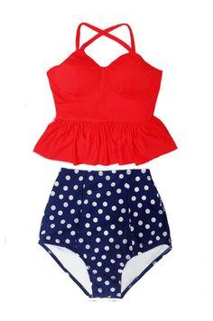 e5fed68aeadc2 Red Long Peplum Bra Tankini Top and Polka dot dots Polkadot High waisted  waist High-waist High-waisted Slimming Flattering Handmade Swimsuit Bikini  set ...