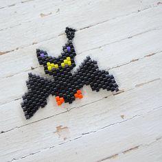 Halloween Bat Peyote Stitch Seed Bead Charm, Bead Woven Pendant