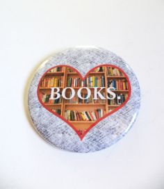 Heart BOOKS Reading Pinback Button OR Magnet by MAGICbyAnnaPanda, $3.00