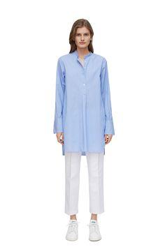 Hairline Stripe Shirt Dress - White/Blue (Stripe) - Dresses - ARKET GB