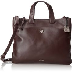 Skagen Small Klire Horizon E Tote Bag ($295) ❤ liked on Polyvore featuring bags, handbags, tote bags, travel tote bags, travel handbags, travel purse, red tote bag and red tote