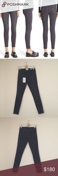 Frame Le High Skinny Raw Hem Skinny Jeans Classic high-rise silhouettes inspire these essential jeans modernized with a super-skinny, ankle-length cut. Frayed hems and a casually faded black wash.  •Size 27; true to size  •New with tag  •NO TRADES/HOLDS Frame Denim Jeans Skinny
