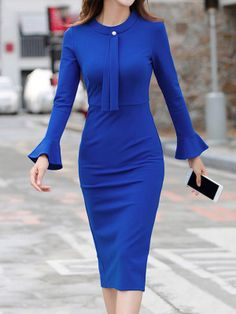 Buy Crew Neck Plain Bodycon Dress online with cheap prices and discover fashion Bodycon Dresses at fashionme to be fashionable now. Boho Dress, Dress Skirt, Bodycon Dress, Kimono Dress, Cheap Dresses, Blue Dresses, Maxi Dresses, Dresses Short, Dance Dresses