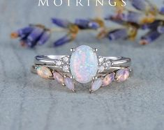 HANDMADE RINGS & BRIDAL SETS by MoissaniteRings on Etsy Pink And Gold, White Gold, Rose Gold, Natural Opal, Natural Diamonds, Diamond Dealers, Bridal Ring Sets, Handmade Rings, Halo Engagement Rings