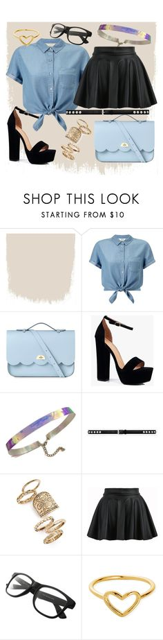 """Daily Outfit!"" by skylerlou2704 ❤ liked on Polyvore featuring Miss Selfridge, The Cambridge Satchel Company, Boohoo, Yves Saint Laurent, Topshop, ChloBo, denim, Geek, holographic and glasses"