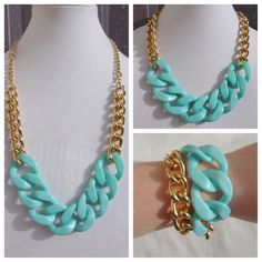 Turquoise Statement Necklace chunky necklace by NuSansBijoux, $44.00