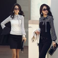 Polo Neck Stripes Long Puff Sleeve Cotton Casual Tops Blouses T-Shirt  dresslink.com