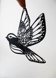 Paper cut bird by Emily Hogarth. Could be a pretty delicate tattoo (loved it) A dove with pansies in the wings. Kirigami, Future Tattoos, New Tattoos, Tatoos, White Tattoos, Paper Cutting, Cut Paper, Tattoo Liebe, Petit Tattoo
