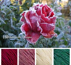 Frosted rose color palette using Harrisville Designs SHETLAND yarn: Chianti, Aster, White, and Seagreen.