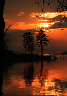 Louisiana Sunset by Dorothy Cunningham, via 500px; Toledo Bend Lake