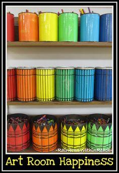 photo of: Art Room Color Buckets (via Art Room RoundUP from RainbowsWIthinReach) Crayon Organization, Art Studio Organization, Classroom Organization, Classroom Ideas, Classroom Table, Art Classroom Decor, Classroom Signs, Classroom Inspiration, Bathroom Organization