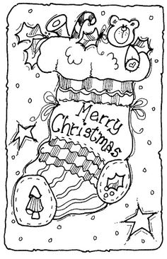 Stocking Christmas Coloring Pages Book Printable For
