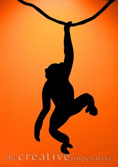 Monkey silhouette for tree