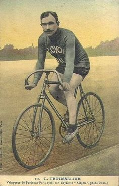 Louis Trousselier who won Paris-Roubaix and Tour de France in 1905. Picture comes from Cycling Hall of Fame.