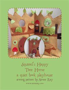 Squirrel's Happy Tree Home felt quiet book PDF sewing pattern felt animals by littledear on Etsy