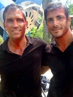 Jim Caviezel and Stunt double in Transit
