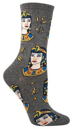 Queen Cleopatra crew length Socks in Grey