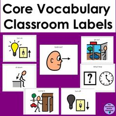 Core Vocabulary Classroom Labels for Autism. by The Structured Autism Classroom Classroom Labels, Autism Classroom, Special Education Classroom, Classroom Ideas, Vocabulary Activities, Language Activities, Vocabulary Words, Learning Support, Learning Tools