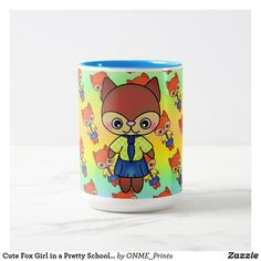 Shop Cute Fox Girl in a Pretty School Uniform Two-Tone Coffee Mug created by ONME_Prints. Tea Mugs, Coffee Mugs, Animal Mugs, Fox Girl, Cute Fox, School Uniform, Light Colors, Special Gifts, Color Pop