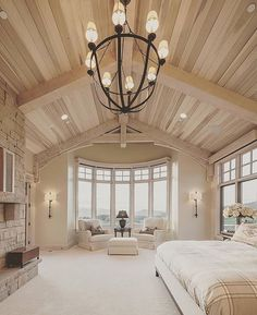 Master bedroom suite with wooden cathedral ceilings.