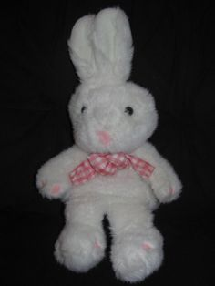 """International Silver Plush White Pink Bunny Rabbit PUPPET Easter Toy 19"""" 1996"""