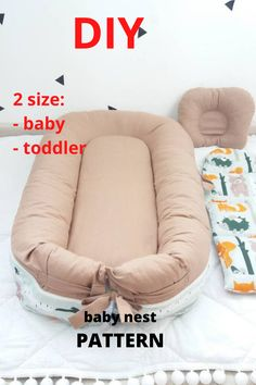 Pattern for sewing a baby nest with a removable mattress. Two size: - baby - toddler The cover is removble mattress. A cozy baby nest made of eco-friendly and hypoallergenic materials will create feeling of the kid's safety and comfort. Sewing Tips, Sewing Ideas, Sewing Projects, Sewing Patterns, Doc A Tot, Baby Nest Pattern, Baby Co Sleeper, Snuggle Nest, Baby Mattress