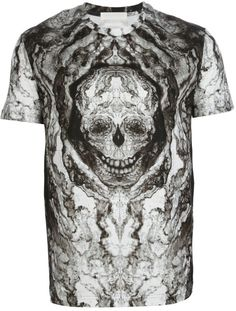 ALEXANDER MCQUEEN skull print grey T-shirt