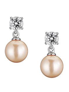 CZ & Champagne Pearl Drop Earrings