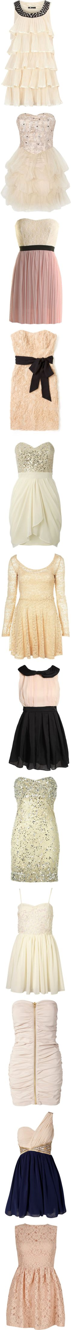 """light, cream colored dresses"" by ellielisette ❤ liked on Polyvore"