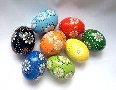 Set von 8 Handgemalte Farben verzierte Osterei Huhn, Traditionelle slawische Wachs Pinhead Huhn-Ei, Osterei, Pysanka