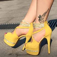 shoespie Rhinestone Decorated Ankle Wrap Platform Heels