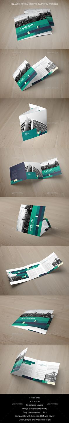 Square Green Stripes Pattern Trifold Brochure Template PSD. Download here: http://graphicriver.net/item/square-green-stripes-pattern-trifold/15144920?ref=ksioks