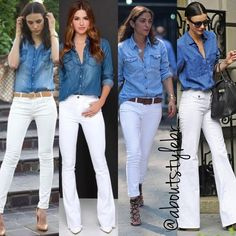 White Jeans Denim Shirt is part of White pants outfit - Look Camisa Jeans, Denim Shirt With Jeans, Jean Outfits, Fall Outfits, Cute Outfits, Fashion Outfits, White Pants Outfit, Outfit Jeans, Denim Shirt Outfit Summer