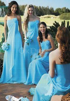 Mysterious Sleeveless Natural Floor-length Strapless A-line/Princess Bridesmaid Dresses - by OKDress UK