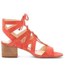 Vince Camuto Fauna Cutout Block Heel Sandal ($119) ❤ liked on Polyvore featuring shoes, sandals, king crab, vince camuto shoes, colorblock shoes, block-heel sandals, vince camuto footwear and cut out heeled sandals