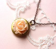 Peach Rose Locket Necklace . antiqued bronze chain by CocoroJewelry