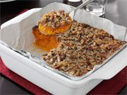 Reynolds Wrap® Pan Lining Paper 3 cups cooked mashed sweet potatoes 1 cup sugar 1/2 cup milk 2 eggs 1/3 cup melted
