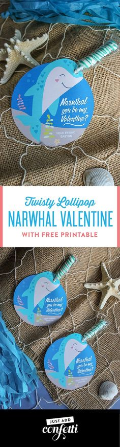 Twisty Lollipop Narwhal Valentine