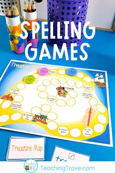 Spelling games and activities are a fun way to help motivate your elementary students to learn their spelling words. You can use them with any spelling word list. They are perfect for literacy centers, partner work, morning work or extra activities for early finishers. #spelling #spellinggames #spellingactivities